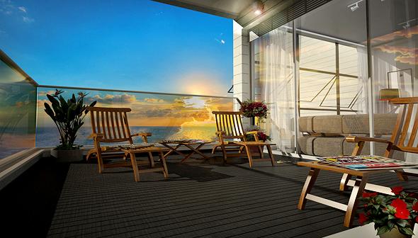 לגור בסטנדרט גבוה עם קו החוף במרפסת