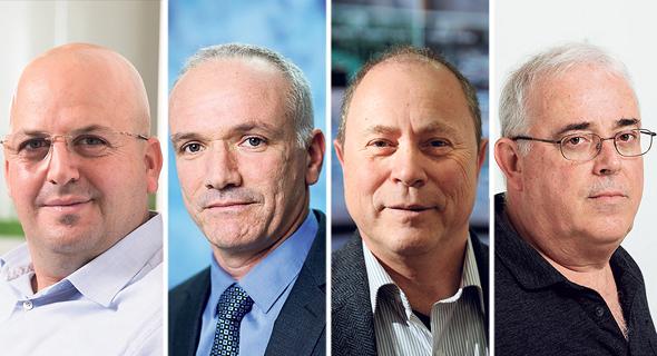 """מימין לשמאל: שבתאי אדלסברג מנכ""""ל אודיוקודס; צבי מרום מנכ""""ל באטמ; אמיר וידמן מנכ""""ל המלט; אסי לוינגר מנכ""""ל אנרג"""