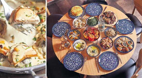 """מימין: שולחן ממולאים ומנת מנסף ב""""דה יאפא"""". לבישול קדם תחקיר על מסורת הבישול, צילום: אפיק גבאי"""