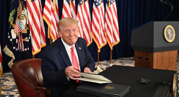 """נשיא ארה""""ב דונלד טראמפ שלשום ב ניו ג'רזי, צילום: AFP"""