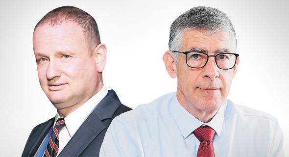 """מימין: המנכ""""ל המתפטר נמרוד שפר והיו""""ר הראל לוקר, צילום: ם כפיר זיו, אוראל כהן"""