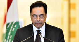 דיאב מודיעיע על התפטרותו, צילום: EPA