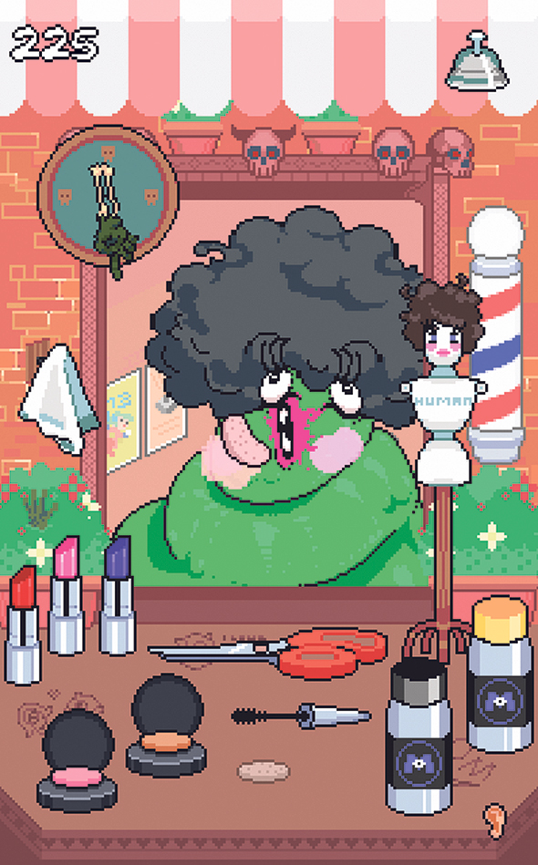 "Screenshot from  the game ""Monstre de Coiffure"""