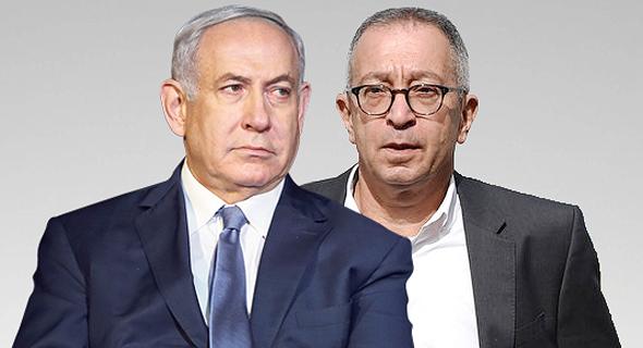 """מימין עו""""ד בועז בן צור וראש הממשלה בנימין נתניהו, צילום: יובל חן, אלעד גרשגורן"""