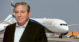 מאיר גורביץ' על רקע מטוס אל על , צילום: אוראל כהן יאיר שגיא