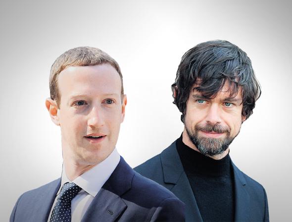 """ג'ק דורסי ומארק צוקרברג מנכ""""לי טוויטר פייסבוק"""