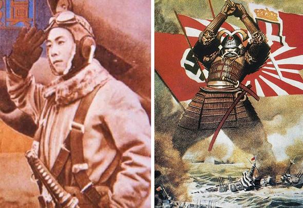 מימין: תעמולה יפנית, ומודעה הקוראת להתנדב לקורס טיס. שימו לב לתפקיד החרב הסמוראית, רכיב בולט בתרבות המיליטנטית במדינה, צילום: worldwartwo