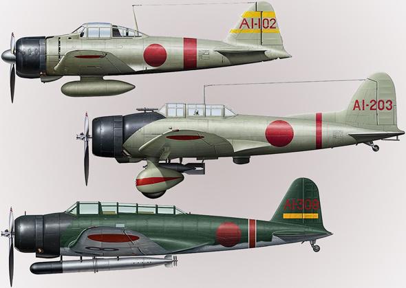 מלמעלה: A6M זירו, D3A ואל, ו-B5N קייט. בהזדמנות, אספר לכם מאין הגיעו השמות הלו ומה מיוחד בהם, צילום: Hasegawa