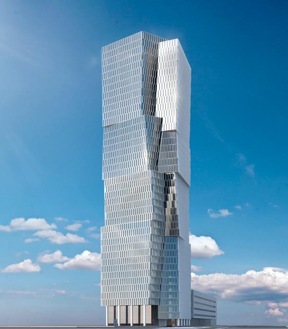 הדמיית מגדל צומת מעריב מגדל יעקב נמרודי, הדמייה: משה צור אדריכלים