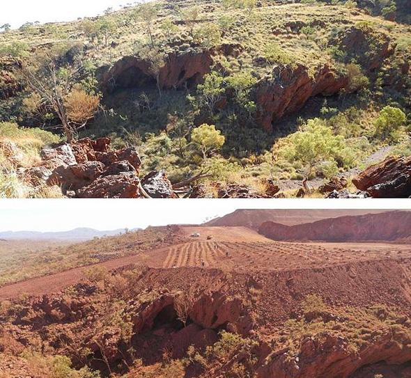 האתר האוסטרלי לפני ואחרי ההרס שביצעה ריו טינטו
