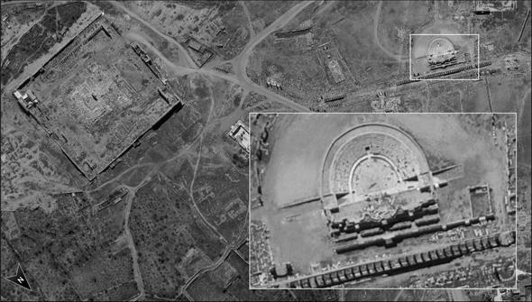 מימין למטה, התיאטרון הרומי בתדמור, מקור: משרד הביטחון