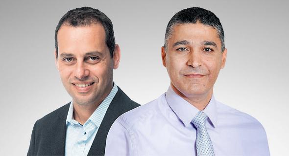 """מימין: משה לארי, מנכ""""ל בנק מזרחי טפחות ואייל בן סימון, מנכ""""ל הפניקס, צילום: פאביאן קולדורף"""