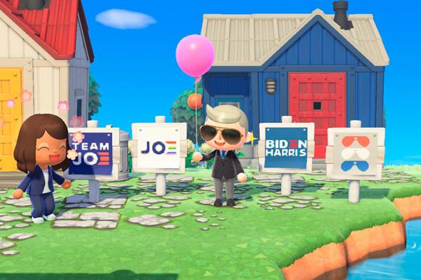 """קמפיין ביידן בחירות לנשיאות ארה""""ב במשחק Animal Crossing , מקור: The Verge"""