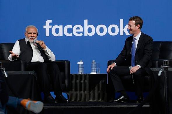 מימין מנכל ומייסד פייסבוק מארק צוקרברג וראש ממשלת הודו נרנדרה מודי, צילום: איי פי