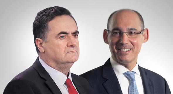 מימין: נגיד בנק ישראל אמיר ירון ושר האוצר ישראל כץ, צילומים: אלכס קולומויסקי, יריב כץ