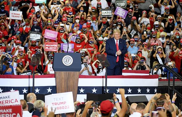 """נשיא ארה""""ב דונלד טראמפ בכנס תמיכה לקראת בחירות 2020, צילום: גטי אימג"""