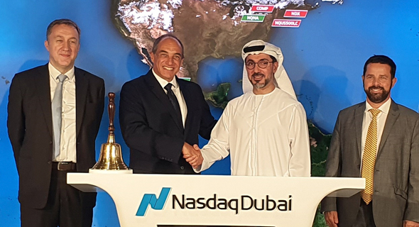 Edouard Cukierman (second left) with Hamed Ahmed Ali, Chief Executive Officer of Nasdaq Dubai. Photo: Courtesy