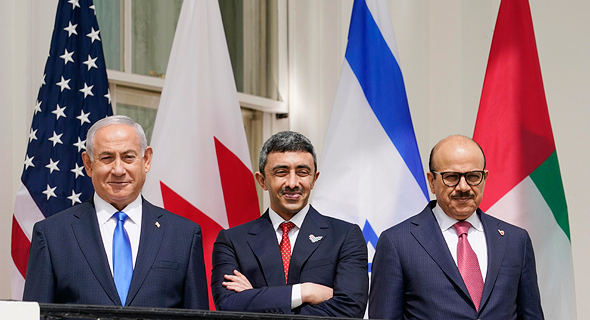 נתניהו ושרי החוץ של בחריין ואיחוד האמירויות, צילום: איי פי