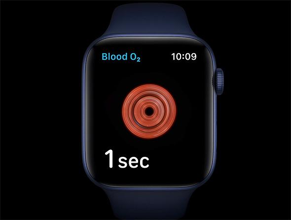 בדיקת חמצן בדם שעון Apple Watch series 6 אפל ווטש 6 15.9.20, צילום מסך: אפל