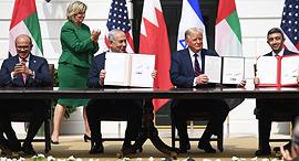 טקס החתימה על ההסכמים בבית הלבן, צילום: אי פי איי