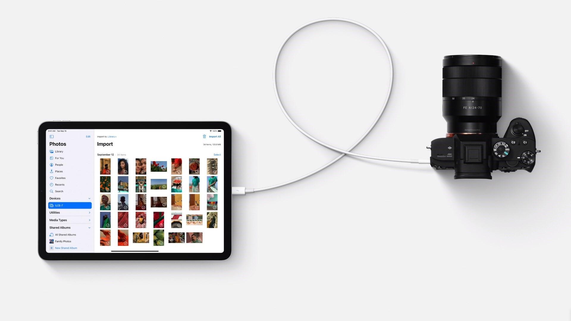 חיבור USB-C באייפד אייר, צילום מסך: אפל