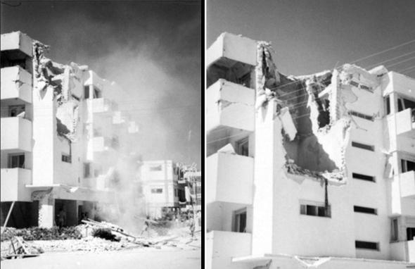 הריסות בניין בלב העיר, זמן קצר לאחר הפגיעות