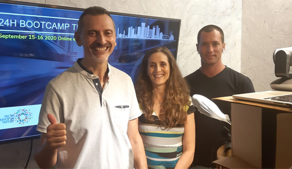 24H Bootcamp TLV organisers Yossi Dan, Tania Amar, and Assaf Luxembourg. Photo: Oshy Ellman