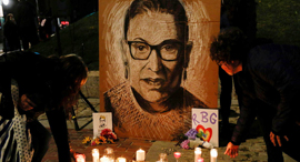 פינת הנצחה לזכרה של רות ביידר גינסבורג בפורטלנד, צילום: רויטרס,