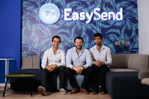 EasySend co-founders Eran Shirazi (left) Tal Daskal, and Omer Shirazi. Photo: Dana Damari