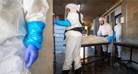 אנשי חברה קדישא מטפלים בנפטר מקורונה, צילום: איי פי