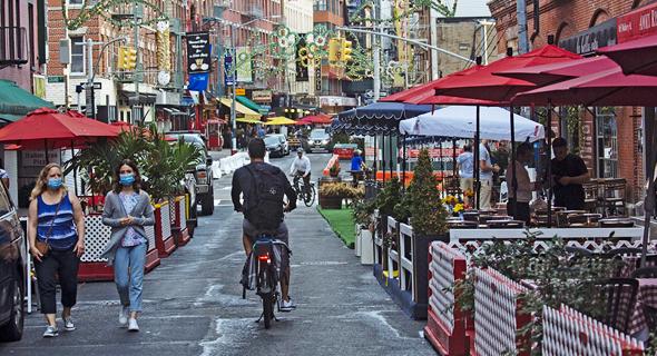 מסעדה מסעדות אוכלים בחוץ ניו יורק קורונה 2, צילום: בלומברג