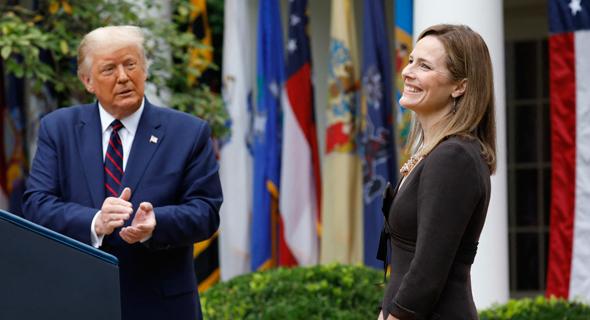 נשיא ארהב דונלד טראמפ מציג את המועמדת שלו לבית המשפט העליון איימי קוני בארט, צילום: אם סי טי