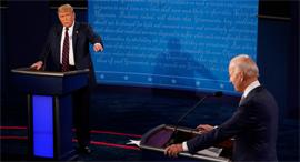 ג'ו ביידן ודונלד טראמפ בעימות אמש , צילום: איי אף פי