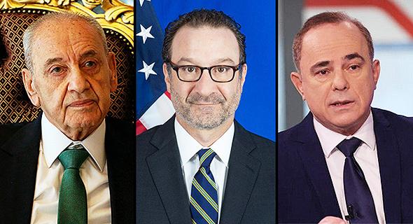 מימין יובל שטייניץ דיוויד שנקר נביה ברי, צילום: יריב כץ, AP, אתר מחלקת המדינה האמריקני