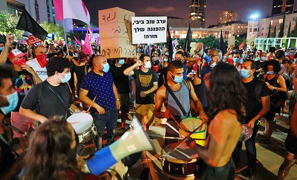 """מחאה בת""""א, צילום: טל שחר"""