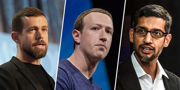"""מימין סונדאר פיצ'אי מנכ""""ל גוגל מארק צוקרברג מנכ""""ל פייסבוק ו ג'ק דורסי מנכ""""ל טוויטר, צילומים: גטי אימג'ס"""