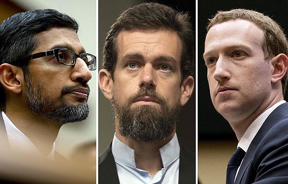 """מימין מארק צוקרברג מנכ""""ל פייסבוק ג'ק דורסי מנכ""""ל טוויטר ו סונדאר פיצ'אי מנכ""""ל גוגל, צילומים: גטי אימג'ס"""