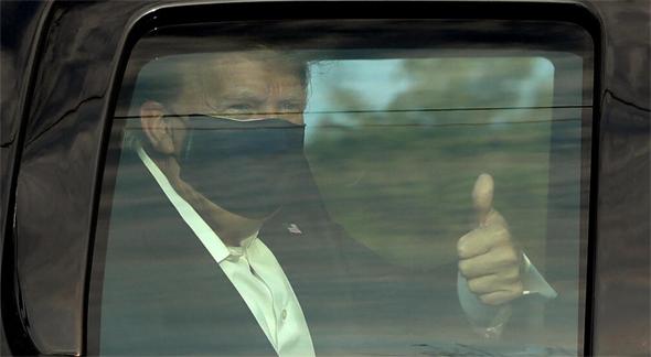 דונלד טראמפ יצא מבית החולים לסיבוב במכונית , צילום: אם סי טי