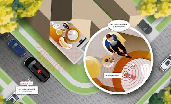 Israeli company GuardiCore revealed that a Comcast remote control was vulnerable to listening. Illustration: GuardiCore