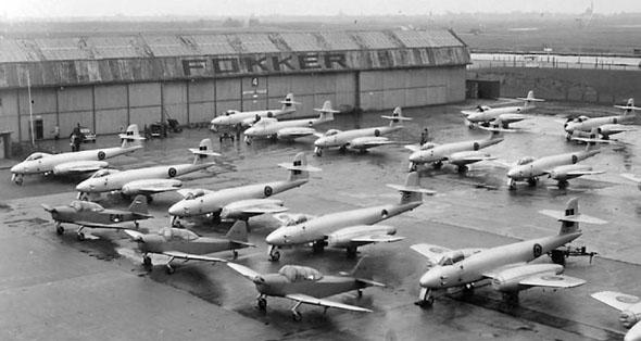 מטוסי מטאור שיוצרו ברישיון בהולנד, במפעלי פוקר