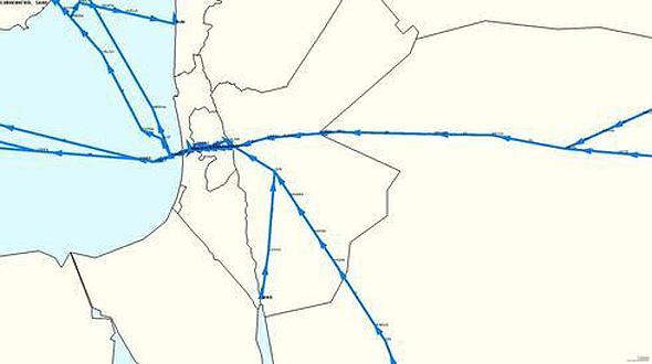 מפת נתיבי האוויר של טיסות במזרח התיכון, Courtesy