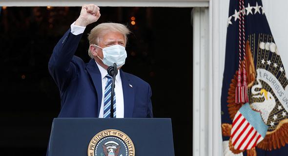 """נשיא ארה""""ב דונלד טראמפ בהצהרה מ הבית הלבן 10.10.20, צילום: רויטרס"""