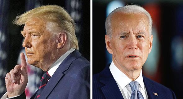 "מימין ג'ו ביידן ודונלד טראמפ, בחירות לנשיאות ארה""ב"