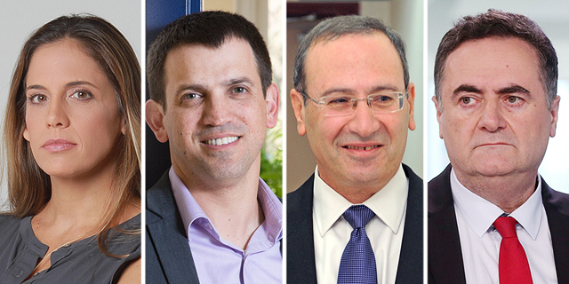 Finance Minister Israle Katz (left) and the three resigning senior officials.:
