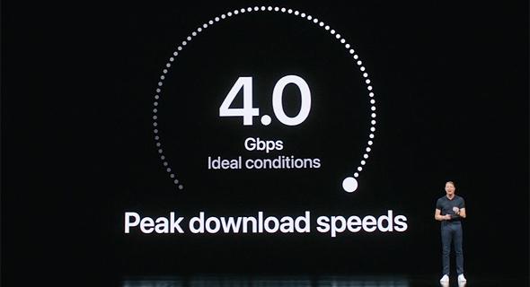 """מהירות האייפון 5G הצפויה בארה""""ב, צילום מסך: אפל"""