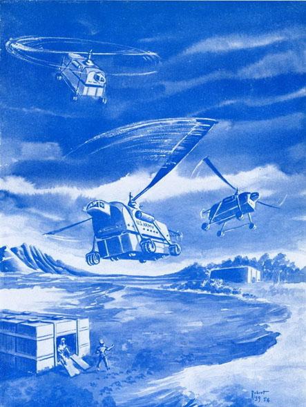 איור הליקופטר עתידי, משנות החמישים, צילום: ausa