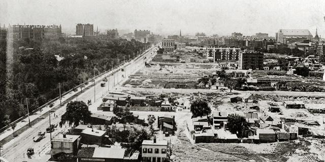 העבודות על השדרה הסמוכה לפארק ממערב, צילום: Collection of The New-York Historical Society