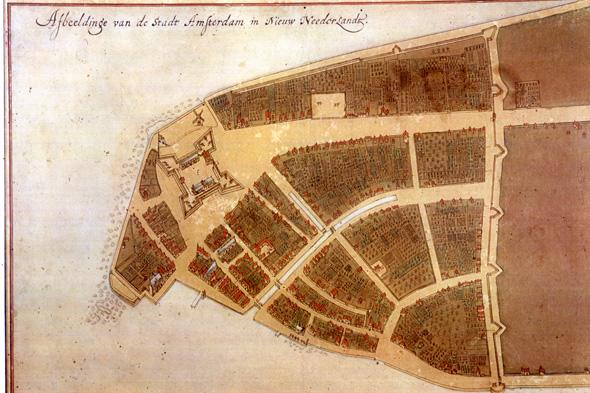 מפת קסטלו משנת 1660 - את החומה אתם מכירים כוול-סטריט, את המבצר כבית המכס, צילום: New York Public Library