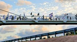 מפגינה בגשר השלום, צילום: מוטי קמחי
