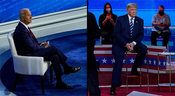 """בחירות בארה""""ב דונלד טראמפ במיאמי ג'ו ביידן בפילדלפיה, צילום: איי פי"""